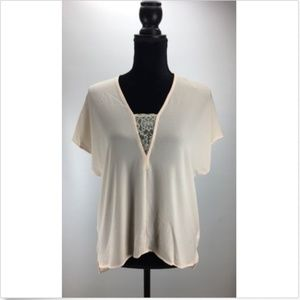 Lush Blouse XS Sheer Lace Deep V-Neck Hi-Lo Cap
